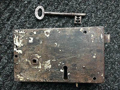 A Vintage Solid Cast Iron- Large Antique Rim Lock With Key - Early  Victorian