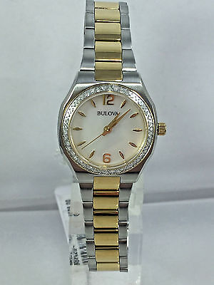 Women's Bulova 98R204 Two Tone Stainless Diamond Accent Case MOP Dial Watch