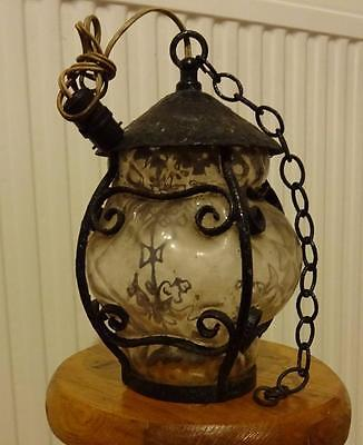 vintage wrought iron  + glass lamp shade porch hall