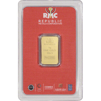 5 gram RMC Gold Bar - Republic Metals Corp - 999.9 Fine in Sealed Assay