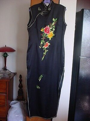 Vintage Chinese Embroidered Black Sleeveless Cheongsam Dress