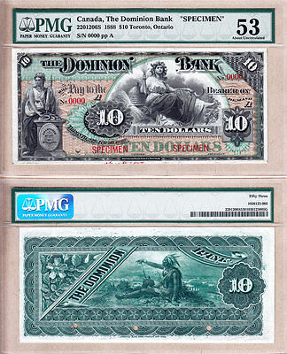 Rare & Very Beautiful: 1888 $10 The Dominion Bank Specimen Note. PMG AU53