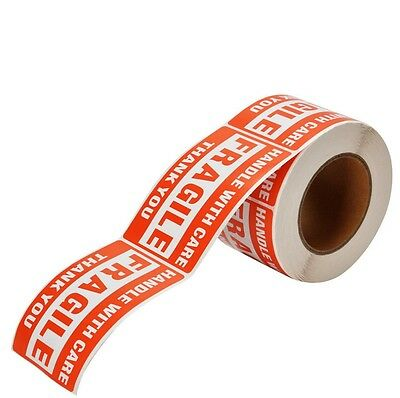 "1 Roll 2"" x 3"" Fragile Handle With Care Stickers 500 Per Roll"