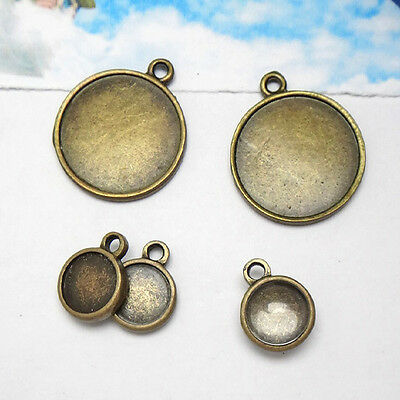 40PCS Antiqued Bronze 14mm Round Cabochon Settings Pendant Blank #23161