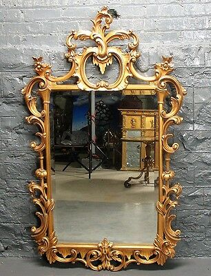 """Fine KARGES FRENCH ROCOCO 57"""" x 34"""" Hand-Carved Gilt Wood Mirror  c. 1970s"""