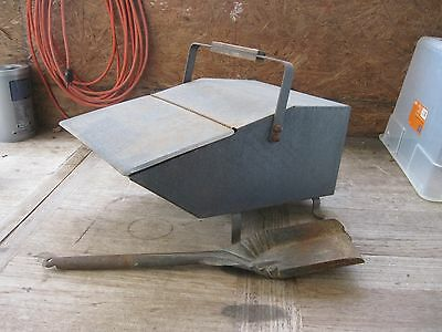 Hearth Fireplace Blacksmith Kindling Coal Ash Scuttle Hinged Metal Box + Shovel