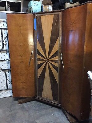 Antique French Art Deco 3 Door Corner Wardrobe