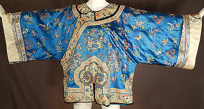 Antique Chinese Blue Silk Embroidered Womens Manchu Magua Short Robe Jacket Vtg