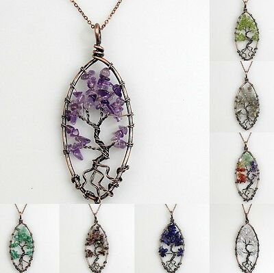 Natural Amethyst Labradorite Tree of Life Chakra Copper Oval Pendant Necklace