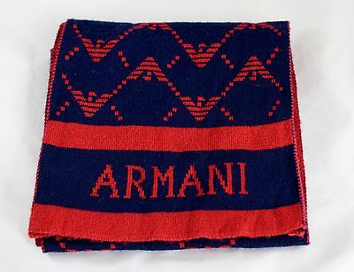 ARMANI Junior Wool Blend Scarf, Wool Blend Blue / Red Logo Design, made in ITALY