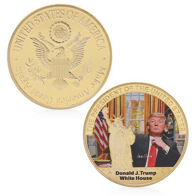 American 45th President Donald Trump White House Golden Coins Commemorative