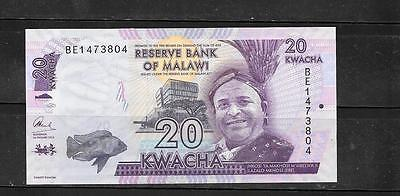 Malawi #57 2016 Mint Crisp New 20 Kwacha Currency Banknote Note Paper Money