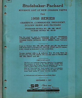 1958 Studebaker - Packard Original Factory Issued Chassis Parts Manual