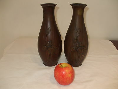 A Pair Of Antique Japanese Bronze Iris Design Vases