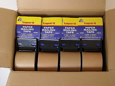 4 ROLL PACK - SELF ADHESIVE Natural Kraft Paper Tape NO WATER REQUIRED