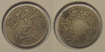 "1929(Ah1348) Saudi Arabia ¼ Ghirsh ""circulated"" Coin"