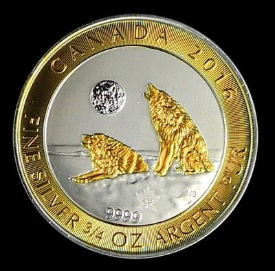 2016 Canadian Grey Wolf 3/4 Ounce .9999 Pure Silver. 24 Karat Gold Gilded Coin.