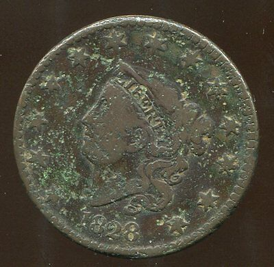 1828 1C N-9, R4, corroded Large Cent