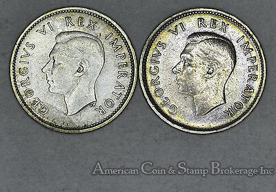 South Africa 6 Pence 1942 1943 silver George VI 2 Coin Lot