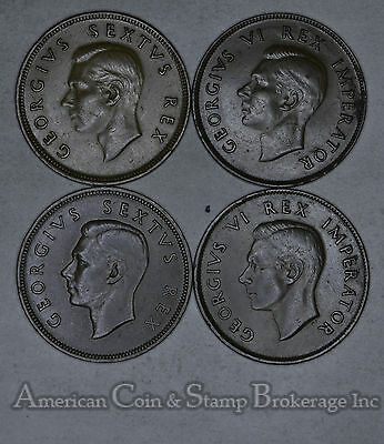 South Africa 1 Penny 1941 1942 1950 1952 bronze Lot of 4 Coins