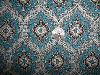 Vintage Cotton Fabric Blue Black and White Medallion Design