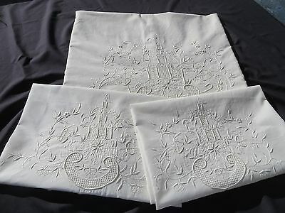 Victorian Edwardian Wedding Bed Sheet 2 Shams Embroidered Church Flowers  Lace