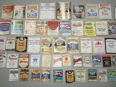 Lot of 55 Old 1930's WHISKEY & Liquor Bottle LABELS - American Liquor Co. BOSTON