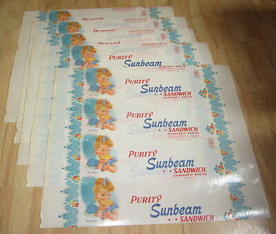 Lot of 5 Old Vintage Purity SUNBEAM Bread WRAPPERS - Miss Sunbeam - Ottawa ILL.