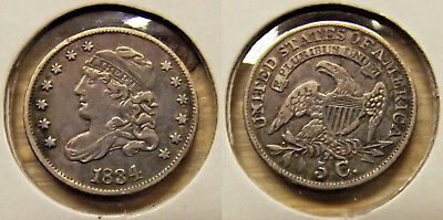 """1834 """"CAPPED BUST HALF DIME"""" (5c) SILVER COIN"""