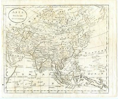 1794 John Russell Copper Engraving Map Asia China North South Korea Japan India