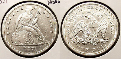 1871 (With Motto) Seated Liberty Dollar ($1) Silver Coin