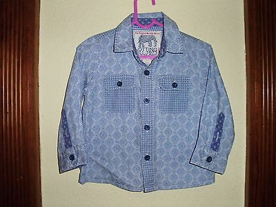Monsoon Notting Hill Boys Blue Patterned Long Sleeved Shirt Size 12-18 Months