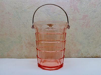 Vintage Pink Depression Ice Bucket Tea Room Pattern Indiana Glass Metal Handle