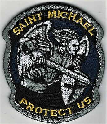 """3 1/2"""" Full Color Gray St. Saint Michael Protect Us Morale Patch Hook Fastener"""