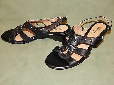 Womens size 8M Strickly Comfort black leather slingback heels shoes 7.5 studs