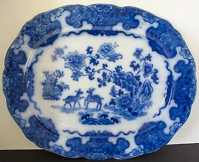 """Flow Blue CASHMERE 18 3/4"""" Platter Ridgway & Morely"""