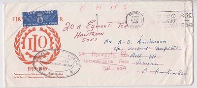 Stamp Ceylon 1969 ILO FDC cover sent airmail to South Australia re-directed