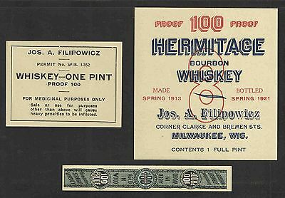 1920s JOS A FILLIPOWICZ HERMITAGE BOURBON WHISKEY LABELS 3 DIFF UNUSED