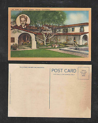 1930s HOME OF MICKEY ROONEY ENCINO CALIFORNIA POSTCARD