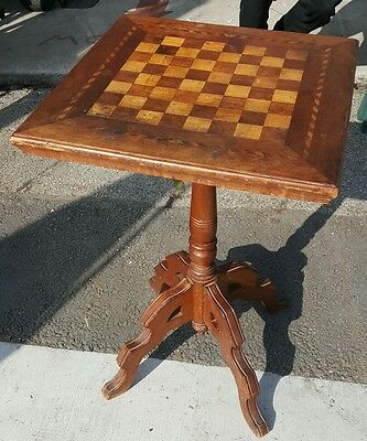 HAND MADE Antique OCCASIONAL Wood Candlestick TABLE with CHESS BOARD Inlaid Game