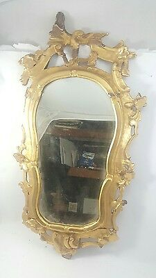 Antique Large MIRROR with Ornate PINE FRAME Gilded for RESTORATION 1700's