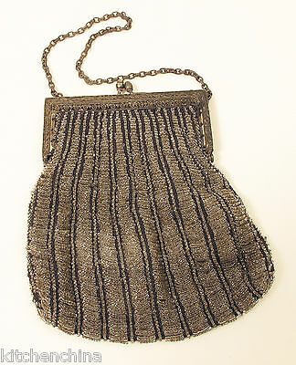 Vintage BEADED PURSE Bag with Metal Frame FANCY INTERIOR