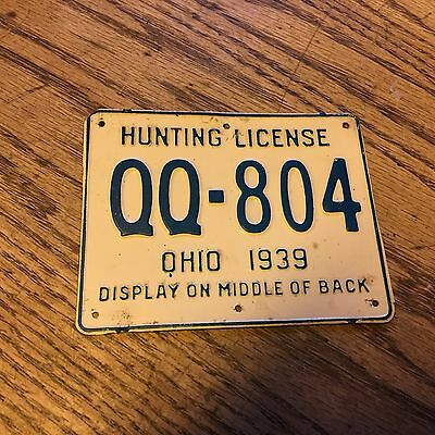 1939 Ohio 'License Plate' Metal Hunting License Very Good Condition