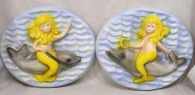 Vintage PAIR Mermaid on Dolphin Chalk Wall Plaques Home Decor 1973