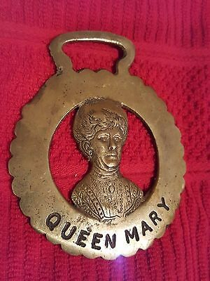 Vintage Brass Horse Harness Medallion Ornament Tack - Queen Mary