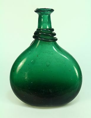 * 1700's Antique Early Hand Blown Green Glass Bottle Canteen Flask