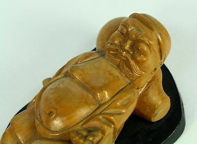 * Antique 1800's Carved Lychee Wood Ho Tai Monk Figurine Carving Statue Wise Man