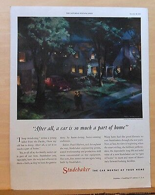 1945 magazine ad for Studebaker - World War Two ad, Car so much of home