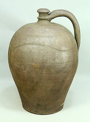 * Antique 1700/1800's Salt Glaze Stoneware Crock Handled Jug Ewer 16.5""
