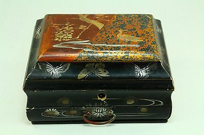 ! Antique Chinese Export Lacquered Wood Stationery Jewelry Chest Box